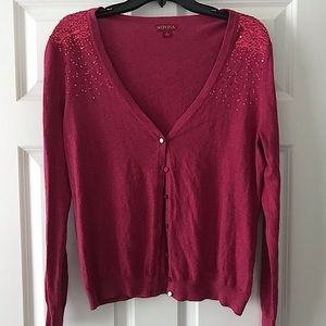 Red sequin cardigan sweater Large